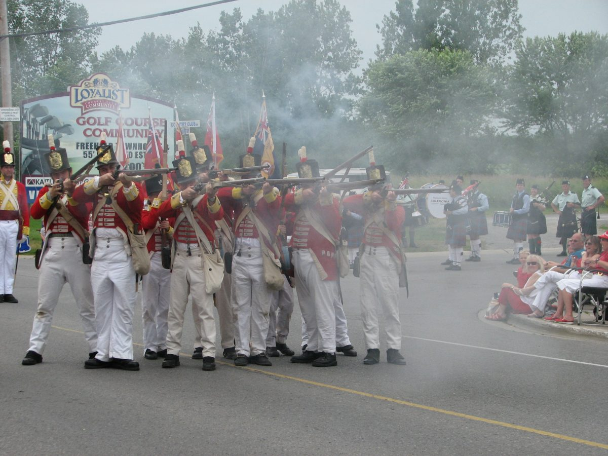 the canadian fencibles fire a volley to start the parade
